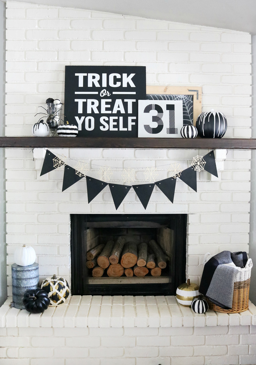 Black & White Halloween Mantel Decor