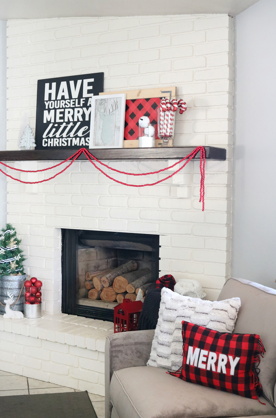 Buffalo Check Holiday Mantel and Decor