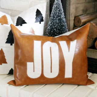 Faux Leather Christmas Pillow