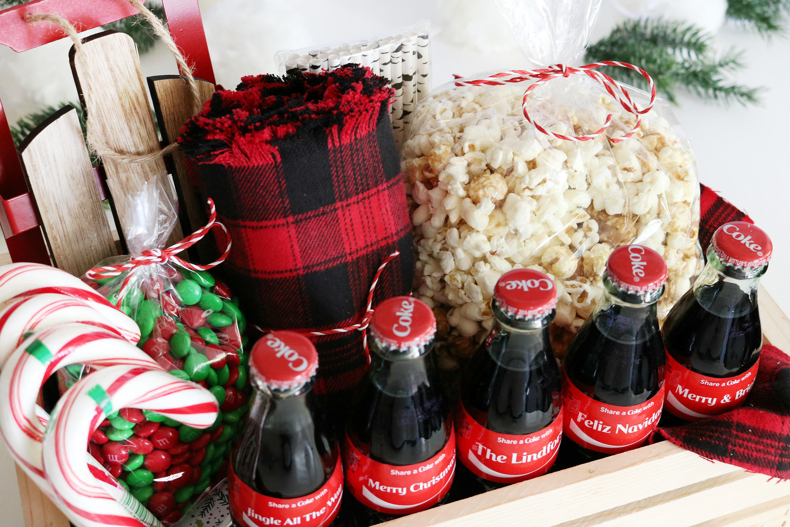 coca cola christmas gift basket idea