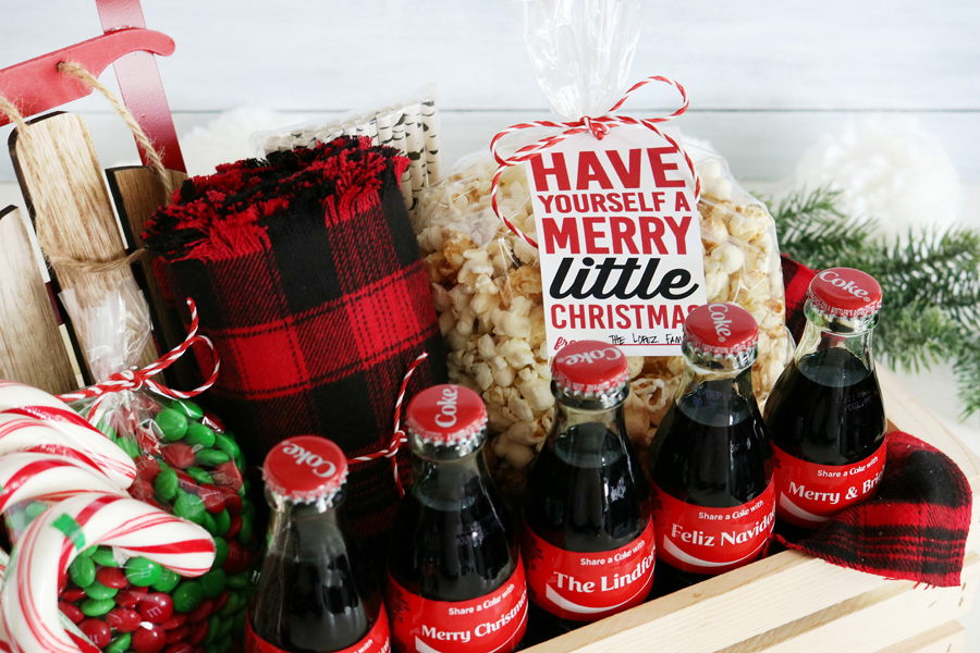 coca cola christmas gift basket idea free printable christmas gift tags