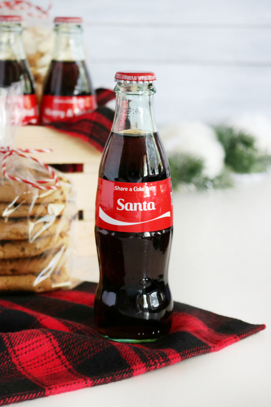 Coca-Cola Christmas Gift Basket Idea with Personalized #ShareACoke Coca-Cola Bottles