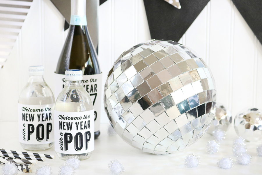 DIY New Year's Eve Mirror Ball Decor