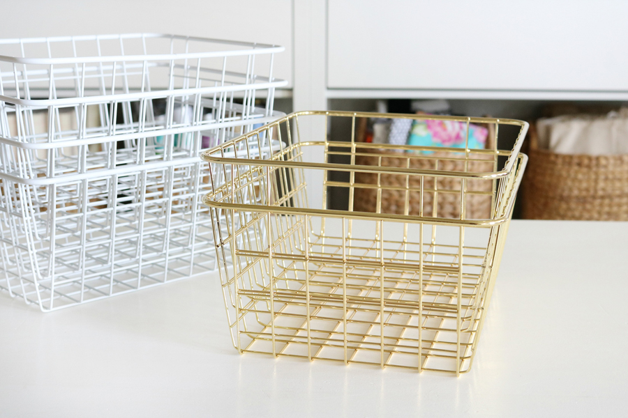 Simple & Stylish Craft Studio Organization. Use small wire baskets to organize in drawers and on shelves.
