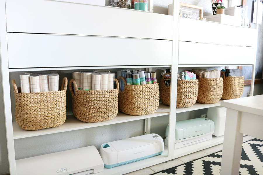 Simple & Stylish Craft Studio Organization. Pretty baskets or bins can help to keep things tidy.