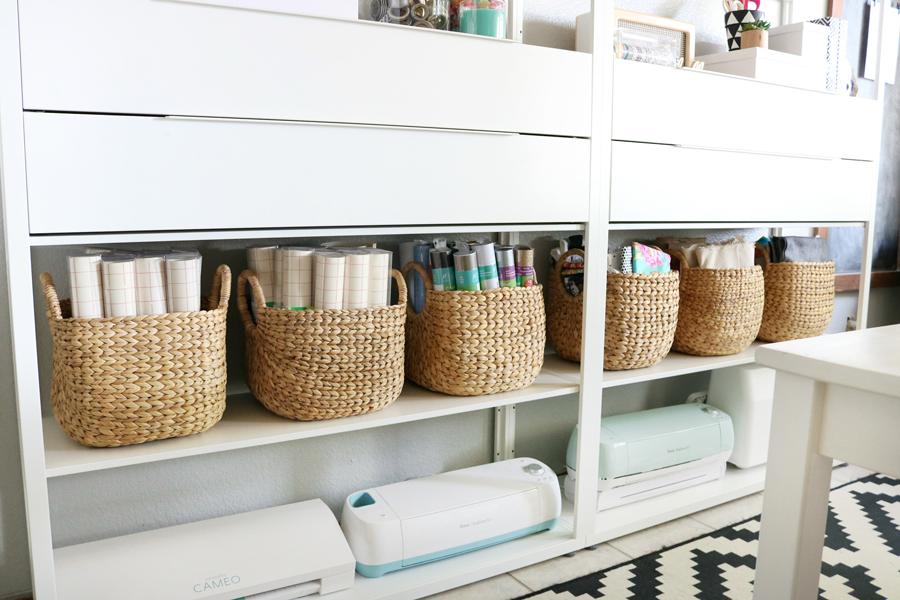 Simple & Stylish Craft Studio Organization. Pretty baskets or bins can help to keep things tidy.