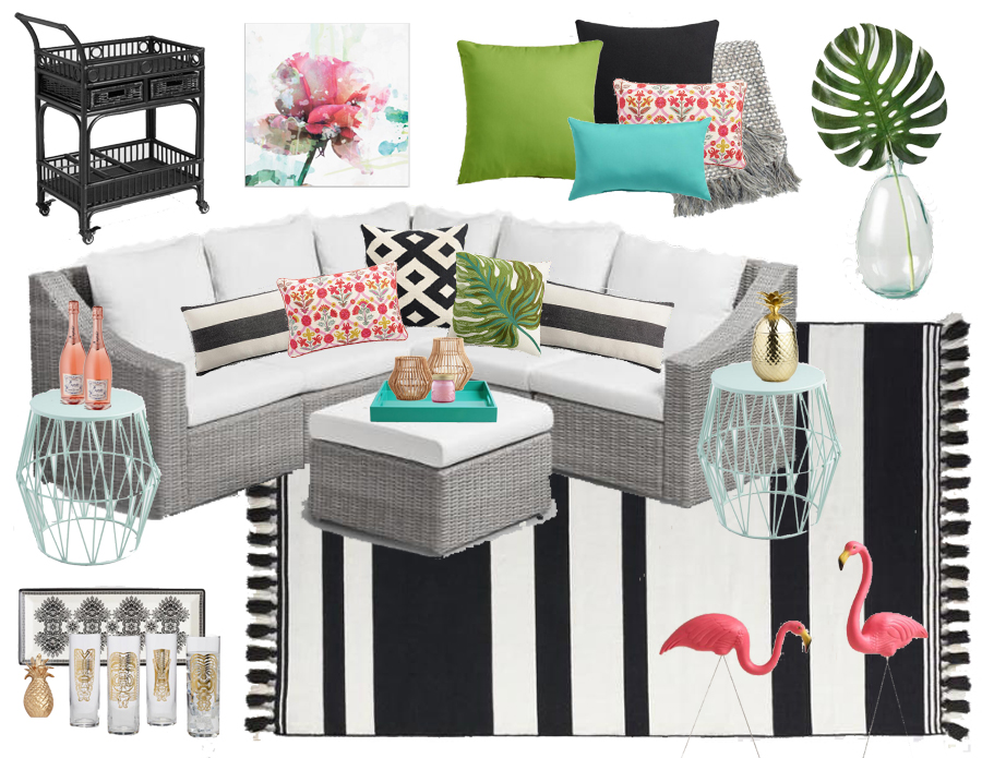 Black & White Tropical Inspired Outdoor Lounge