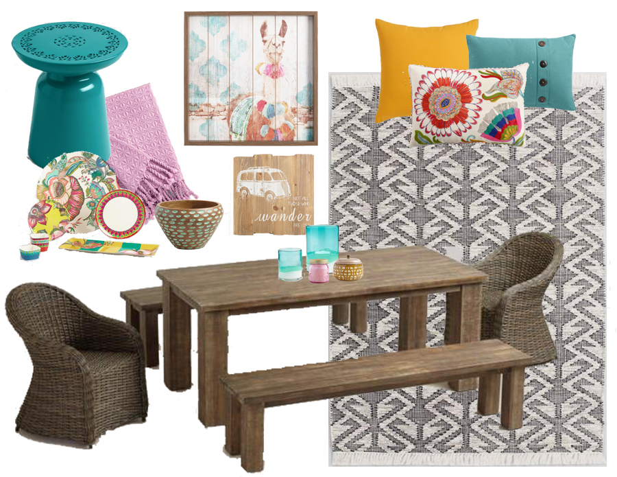 Boho Inspired Outdoor Dining Decor