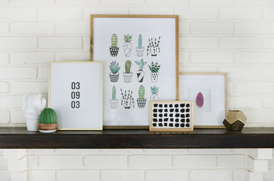 Succulent Inspired Mantel Decor