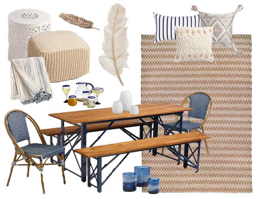 Navy & Neutrals Casual Outdoor Dining Decor