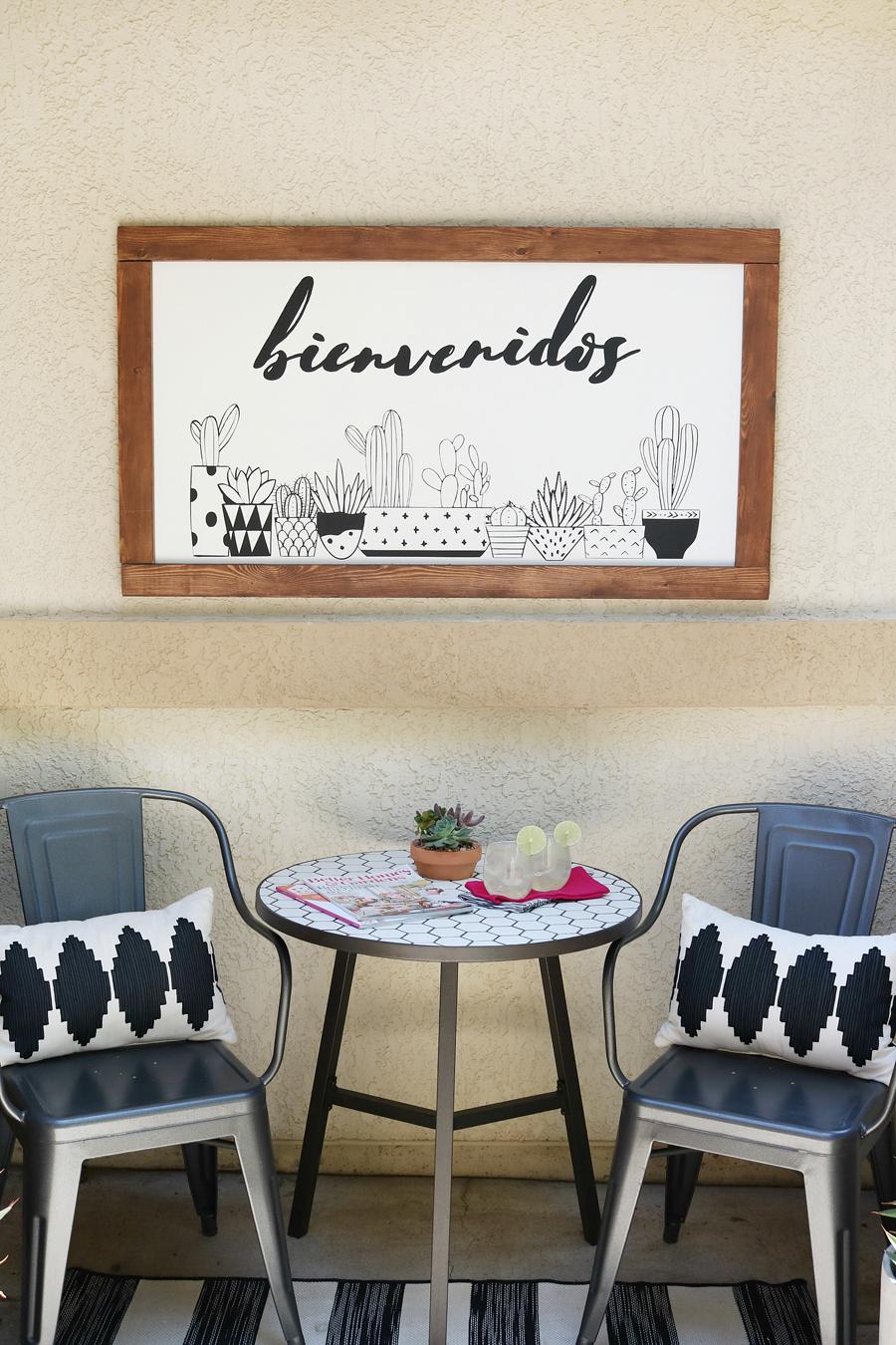 Front Porch Decor Ideas, DIY Black & White Succulent Sign