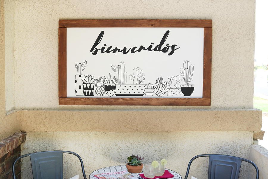 Large DIY Black & White Succulent Sign