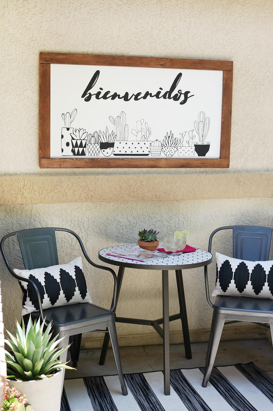 DIY Black & White Succulent Sign on Front Porch