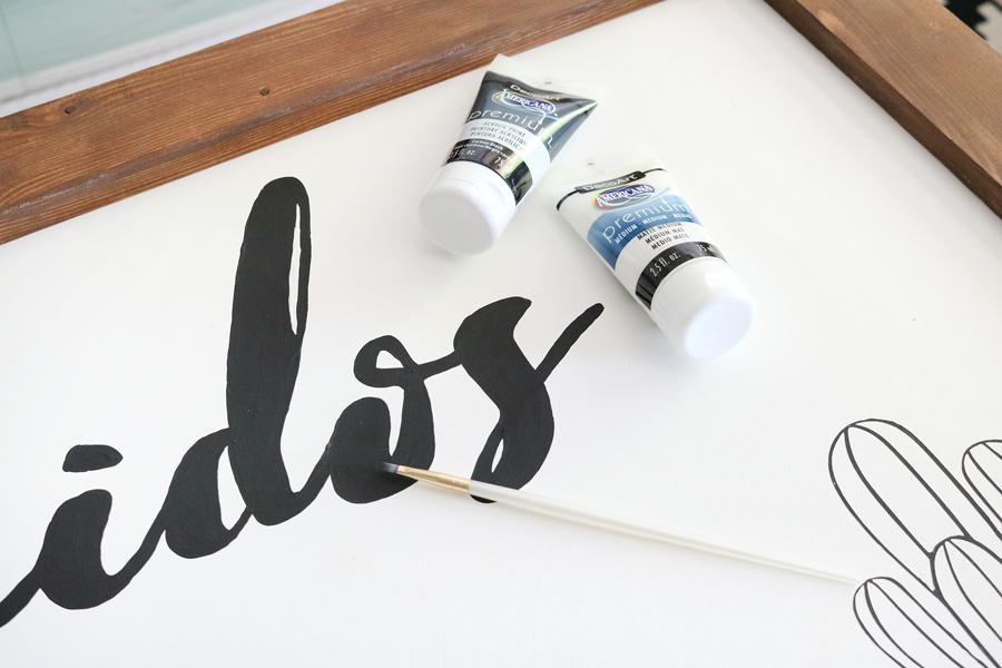 DIY Black & White Succulent Sign