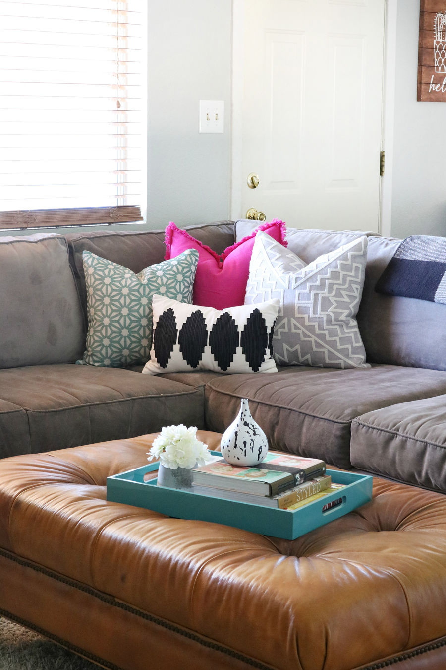 Family Room Refresh - Neutrals Mixed with Pops of Bold Color