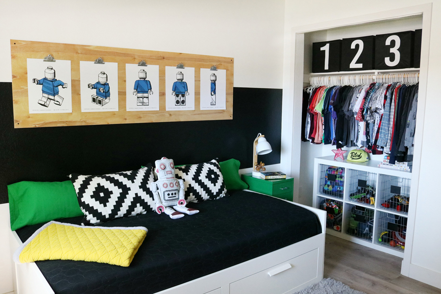 Boys Room Easy Closet Organization and Decor Ideas