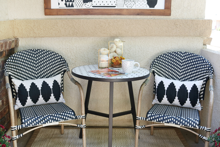 Black & White Fall Porch - BHG Live Better Parisian bistro chairs