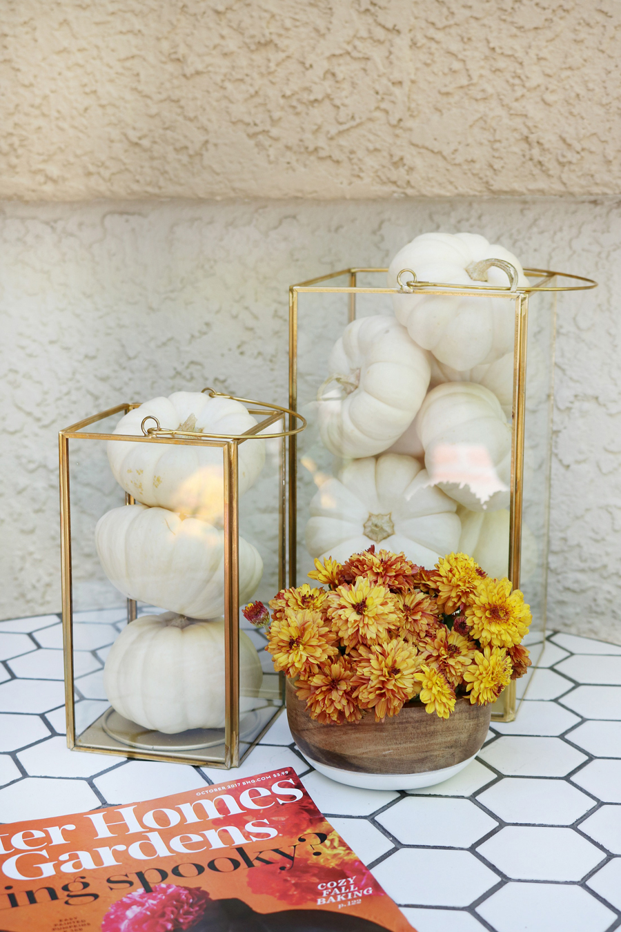 Black & White Fall Porch - BHG Live Better Gold Glass Huricanes