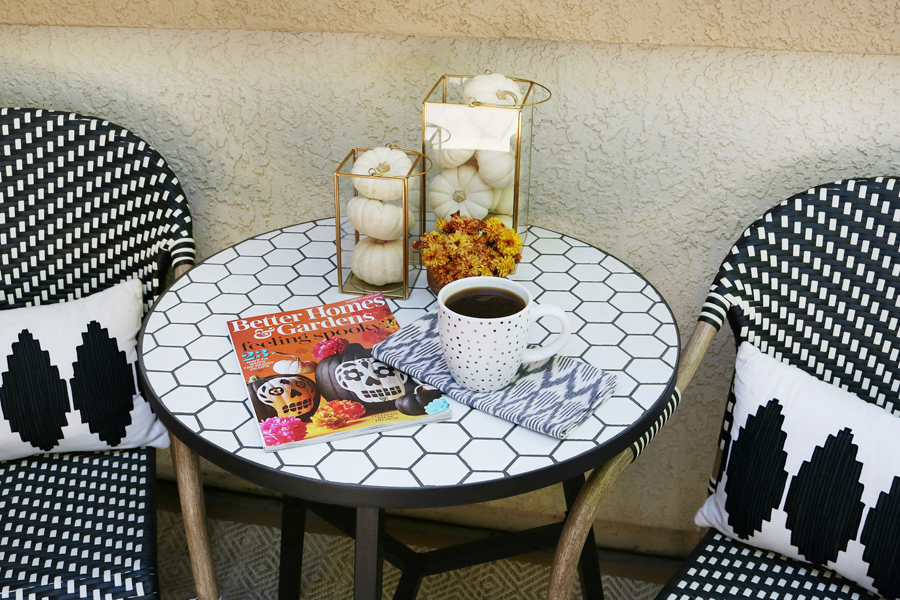 Black & White Fall Porch - BHG Live Better bistro table