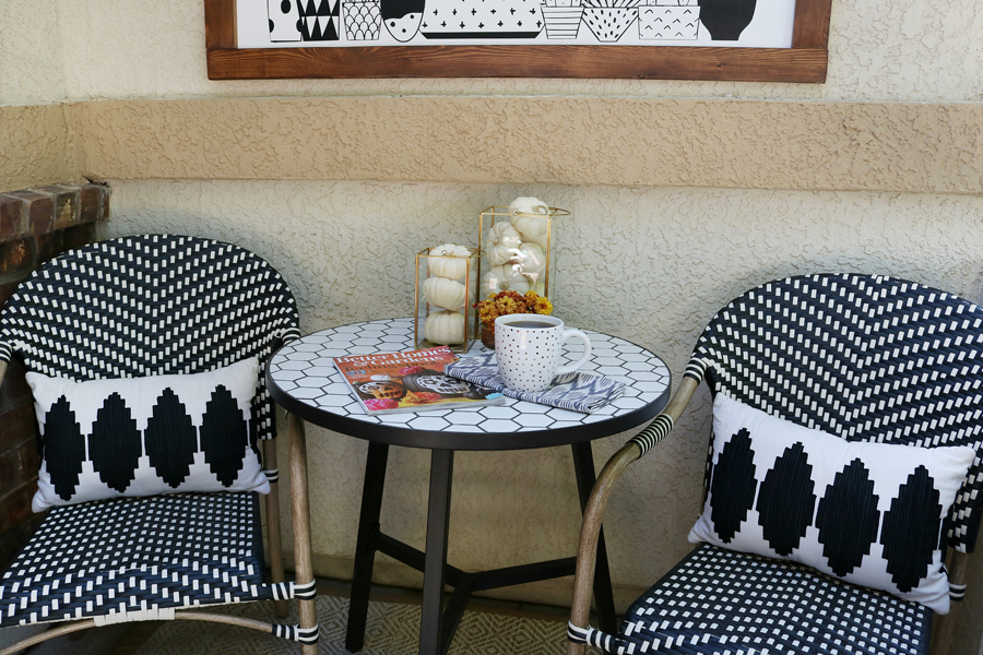 Black & White Fall Porch - BHG Live Better camrose farmhouse table