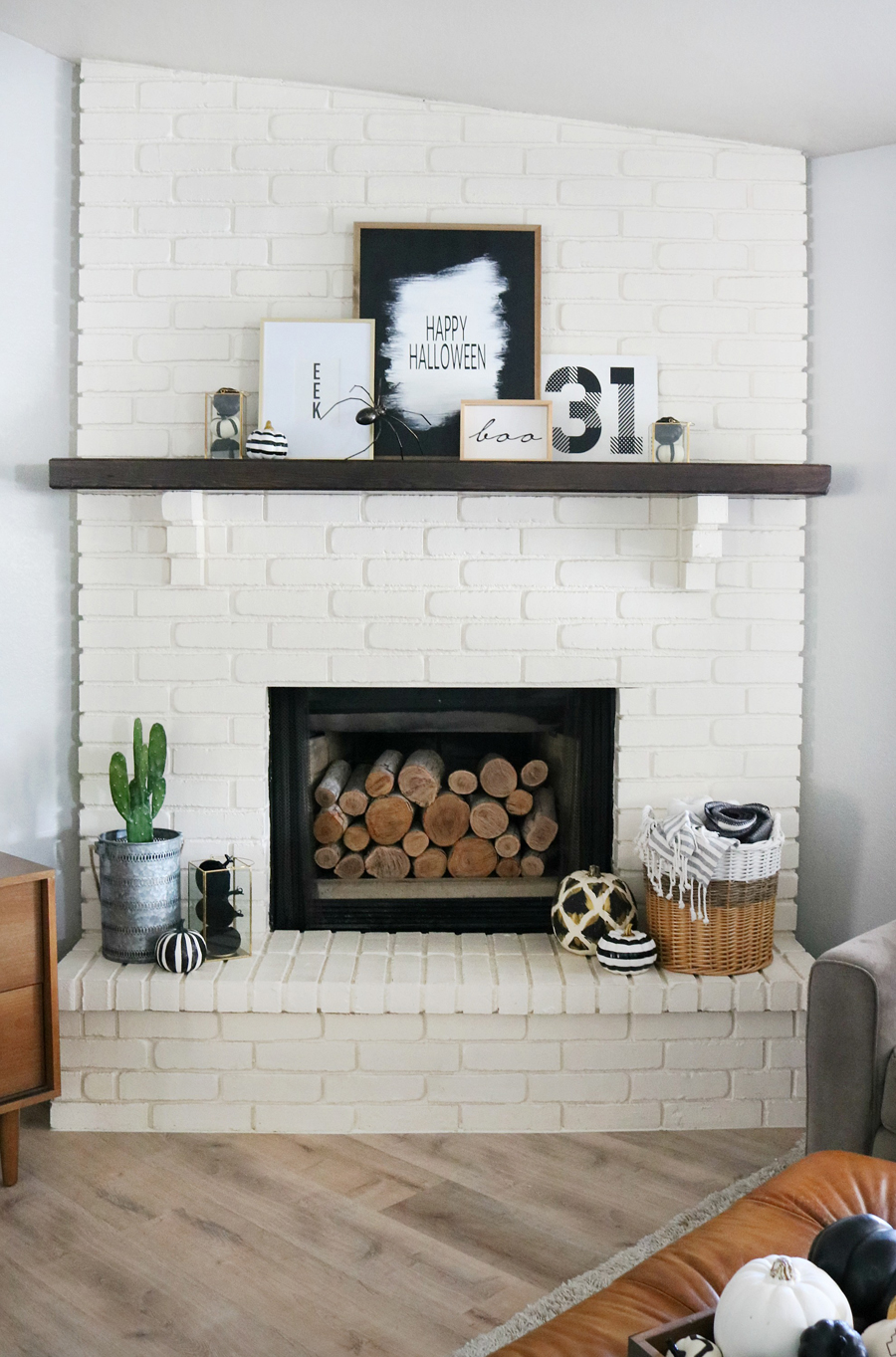 Simple Black White Halloween Mantel Decor