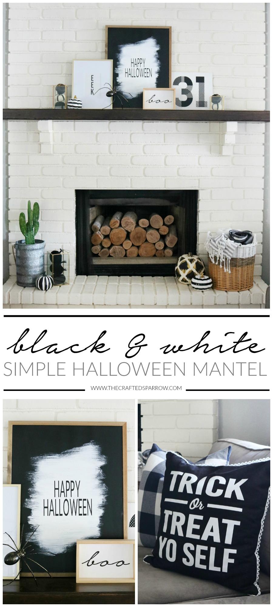 Simple Black & White Halloween Mantel Decor