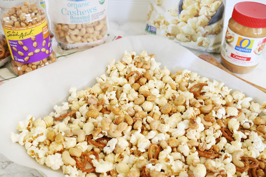 Chocolate & Peanut Butter Drizzled Popcorn Mix