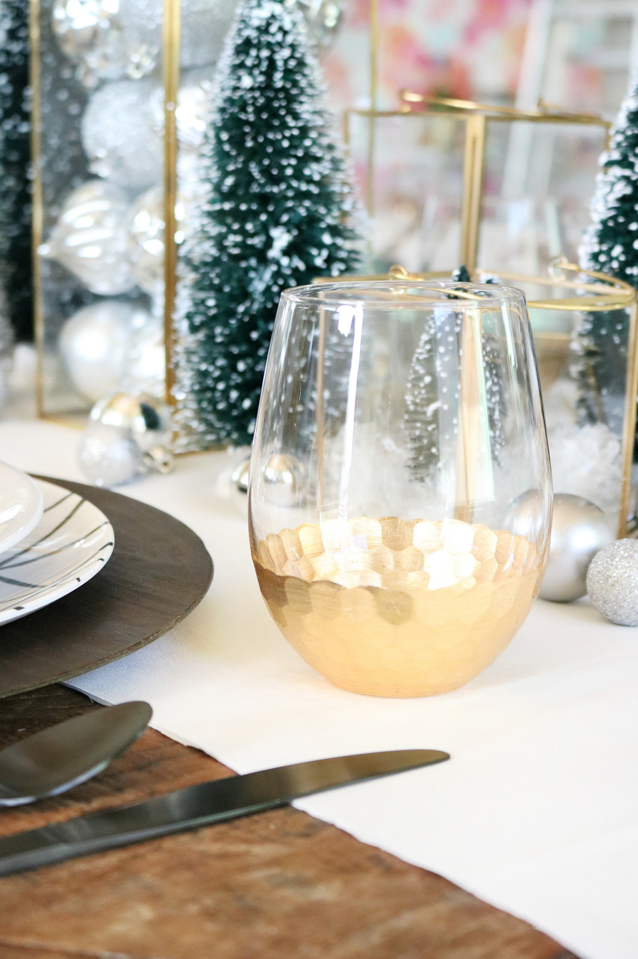 Simple and Modern Christmas Dining Table Ideas - BHG Live Better gold hexagon stemless wine glasses