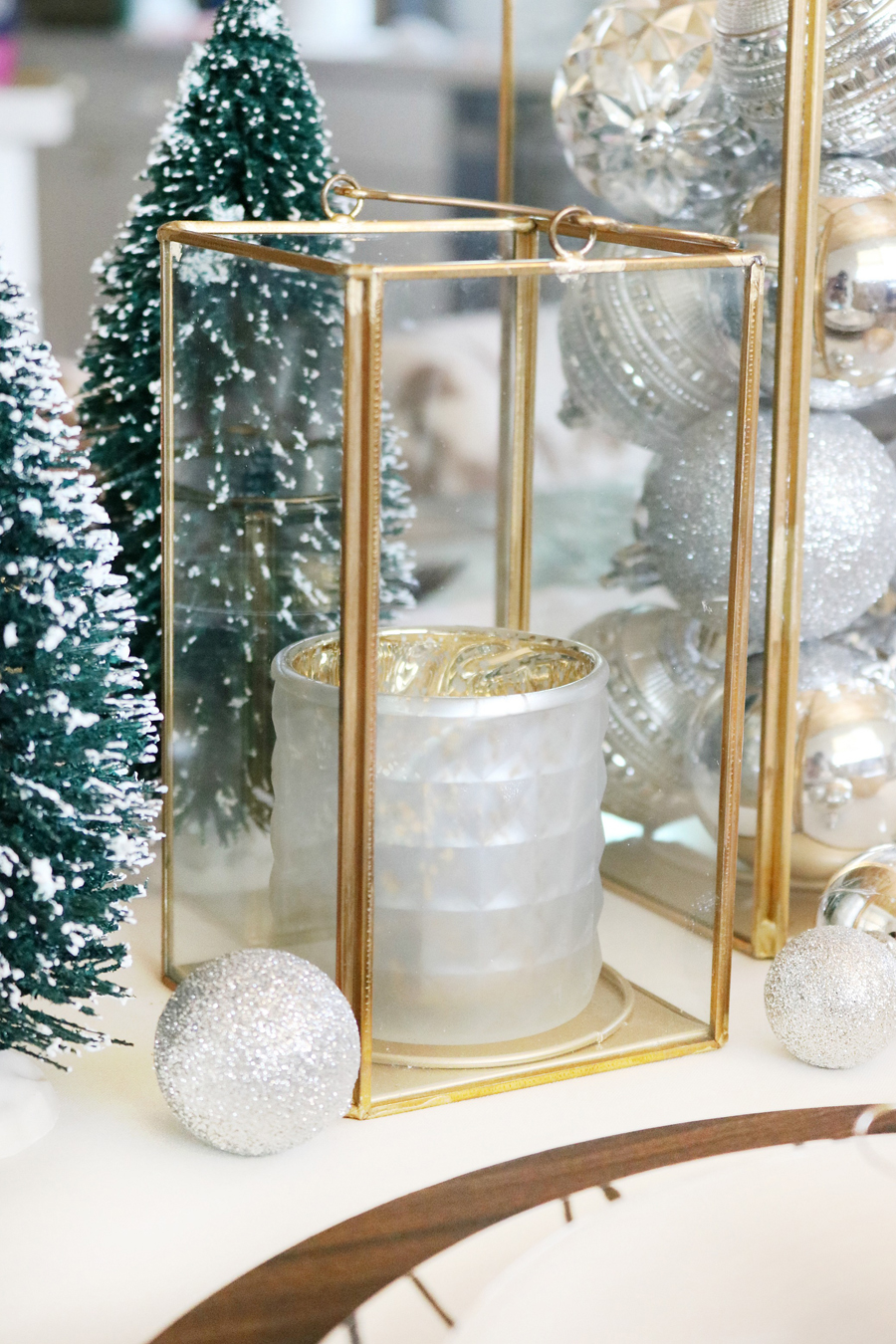 Simple and Modern Christmas Dining Table Ideas - BHG Live Better Gold Lanterns