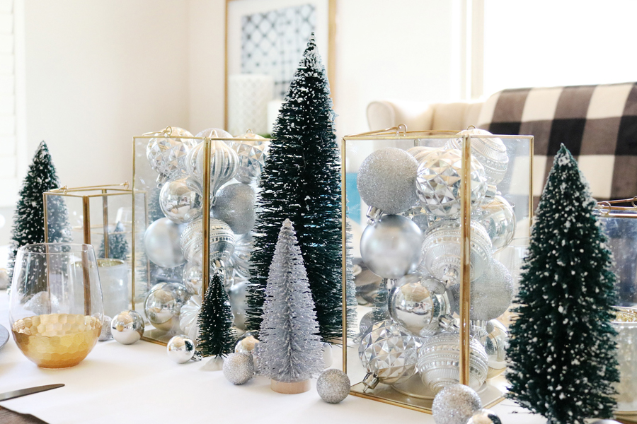 Simple and Modern Christmas Dining Table Ideas - Bottle brush trees mixed with metallics