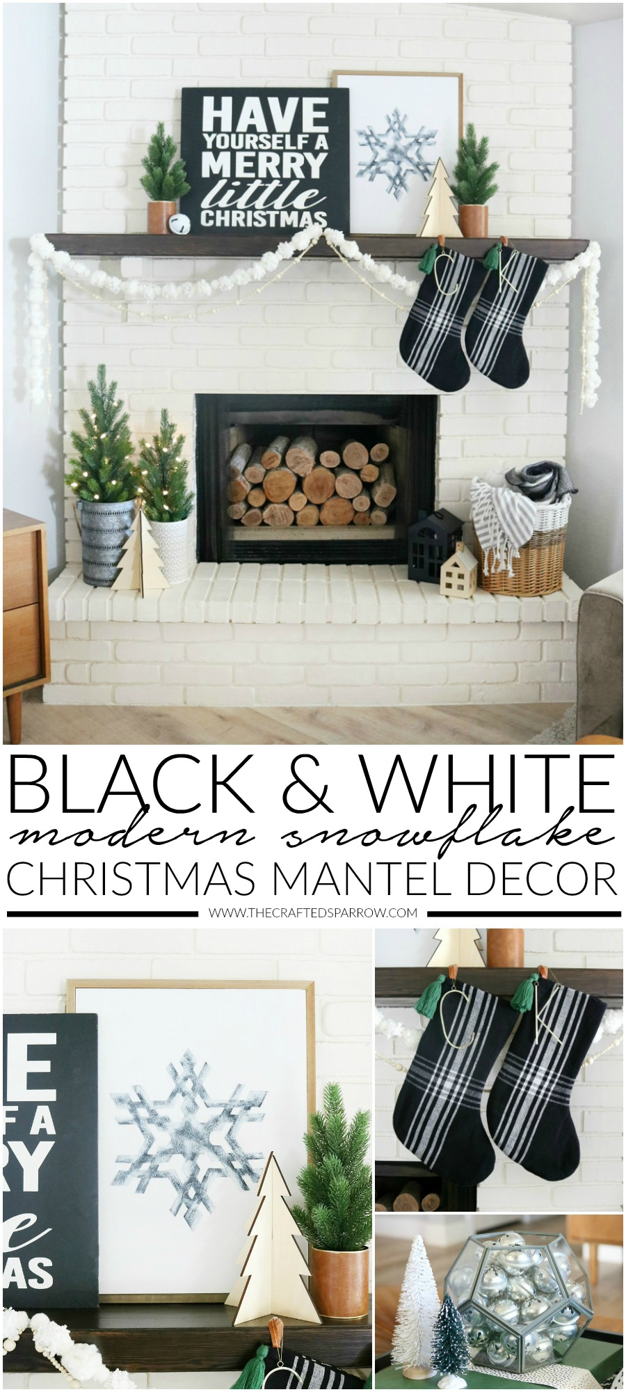 Black Amp White Modern Snowflake Christmas Mantel Decor