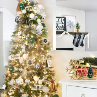 Black & White Modern Snowflake Christmas Tree Decor
