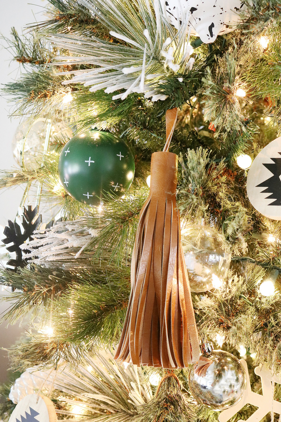 Black & White Modern Snowflake Christmas Tree Decor - Giant faux leather tassels are a great addition to tree decor.