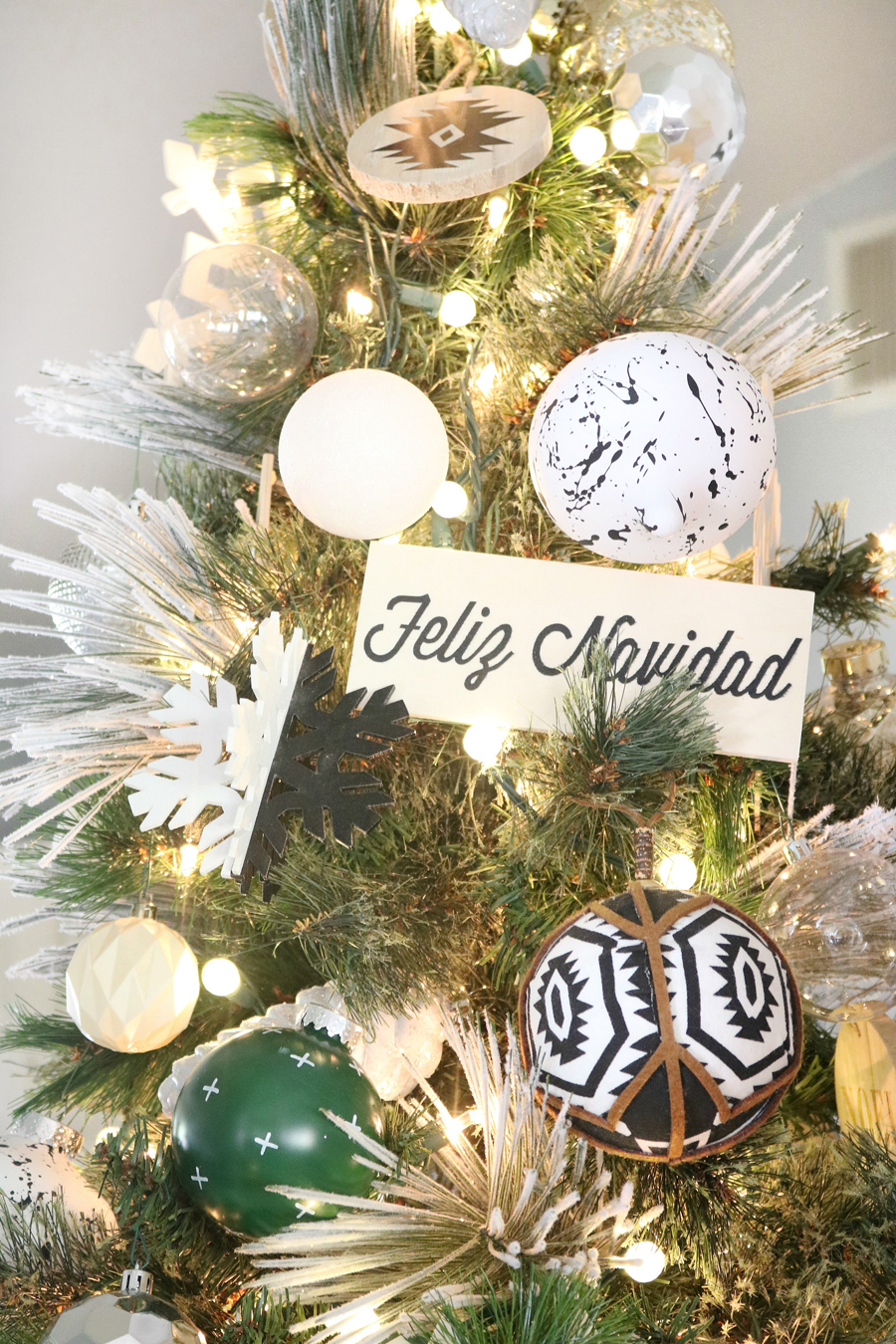 Black & White Modern Snowflake Christmas Tree Decor - Simple wood plaques with graphic Christmas sayings are perfect tree decor.