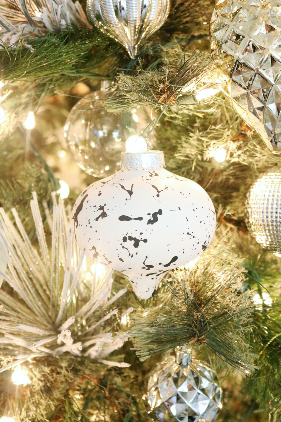 Black & White Modern Snowflake Christmas Tree Decor - Splatter paint ordinary plain ornaments.