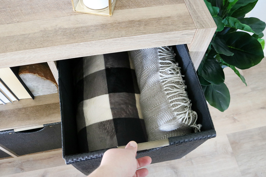 Small Space Storage Solutions - Use cube storage bins and shelving to store toys, blankets, and so much more.