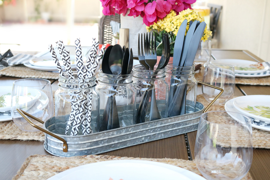 BHG Live Better glavanized outdoor pieces double as decor and funtional pieces for your outdoor entertaining.