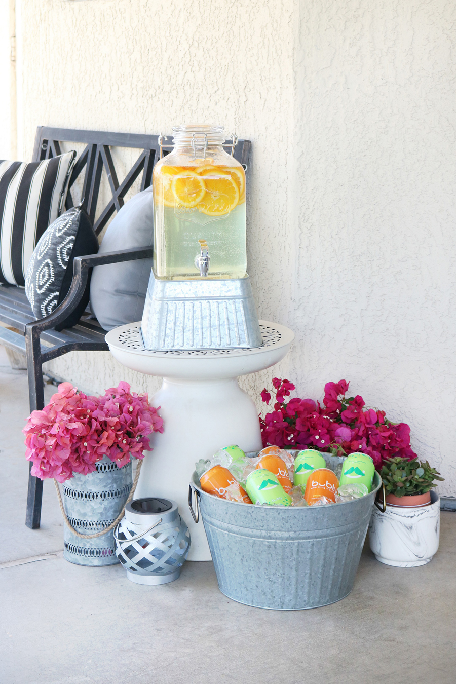 Create easy beverage stations for outdoor entertaining with products from the BHG Live Better line for Walmart.