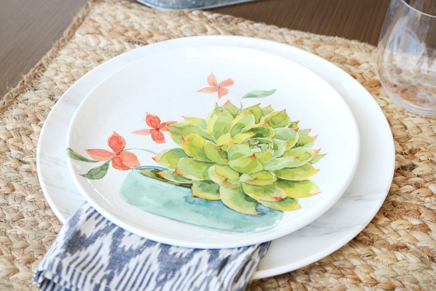 Succulent melamine plates from the BHG Live Better for Walmart line.