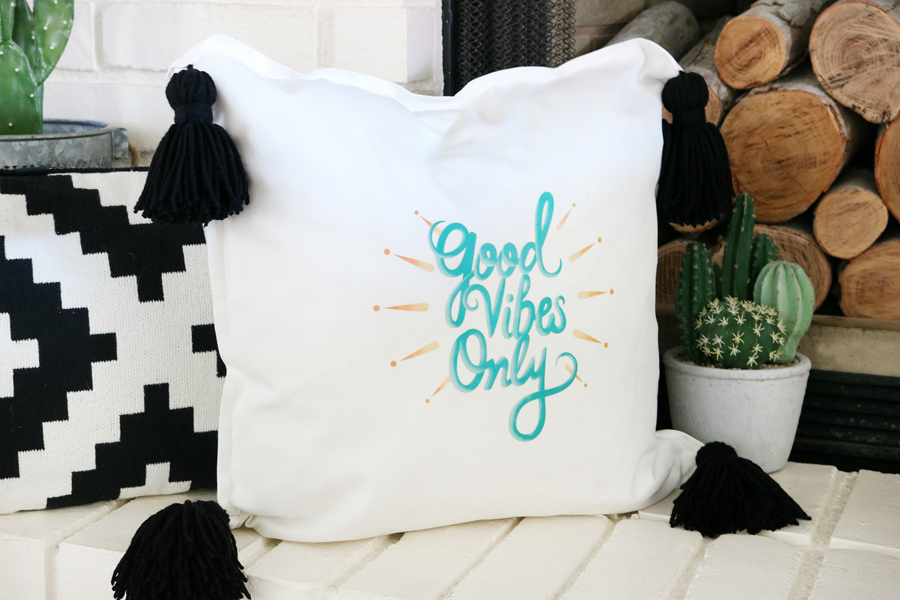 Good Vibes Easy Iron-On Pillow