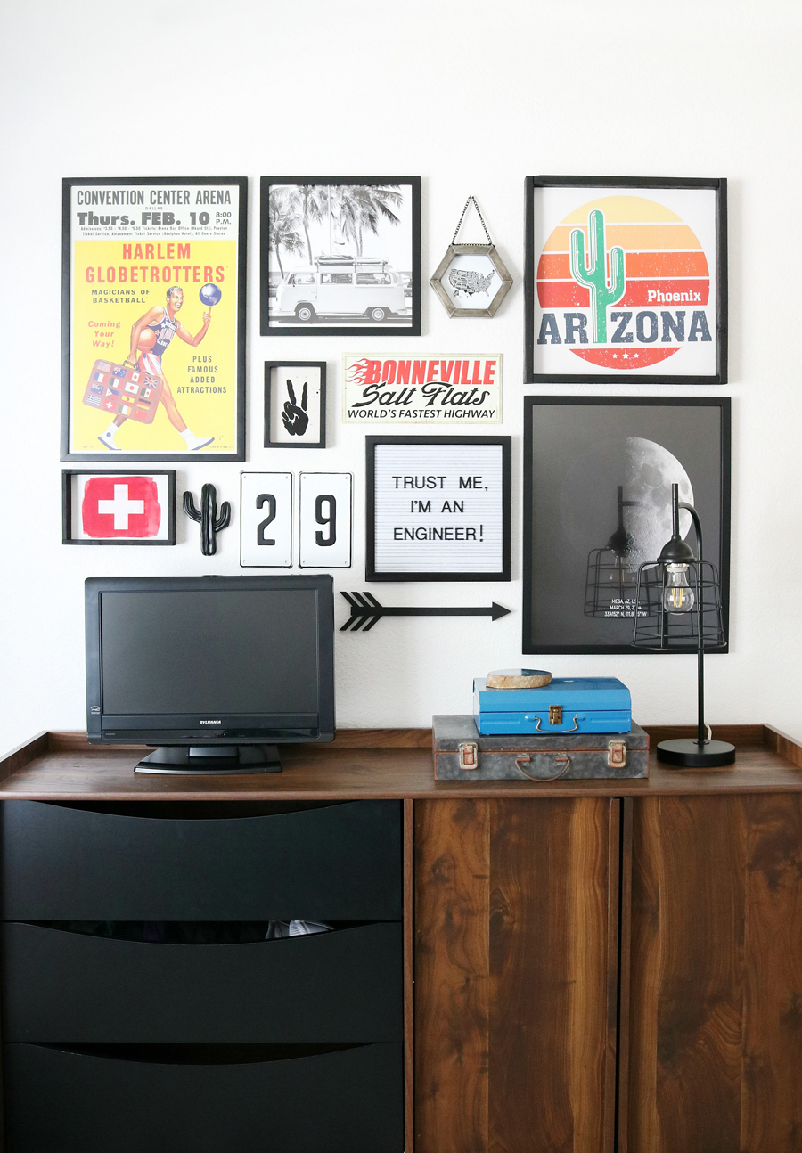 Teen Boy's Room Decor - Collected Gallery Wall