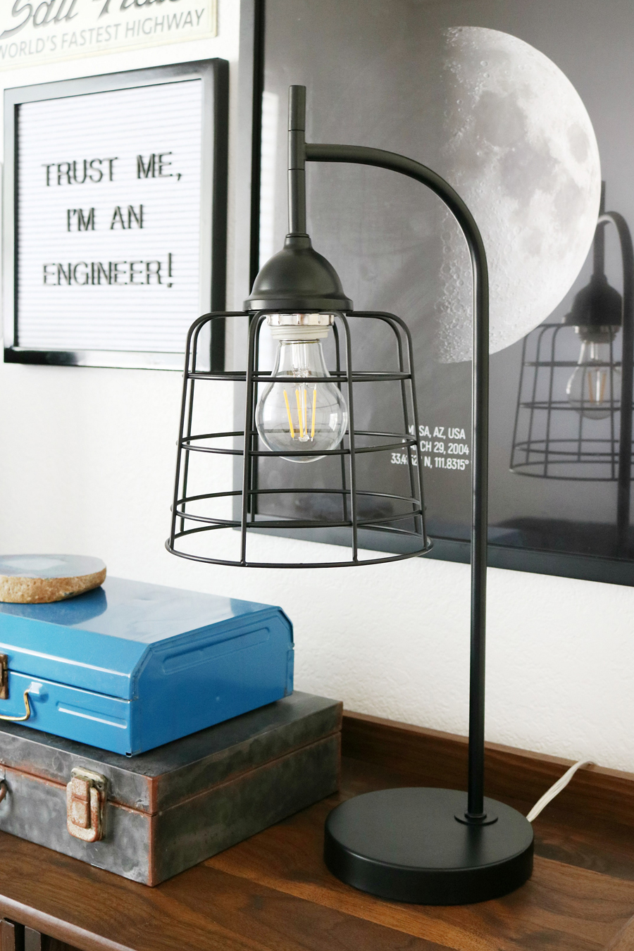 Teen Boy's Room Decor - Vintage Inspired Cage Lamp