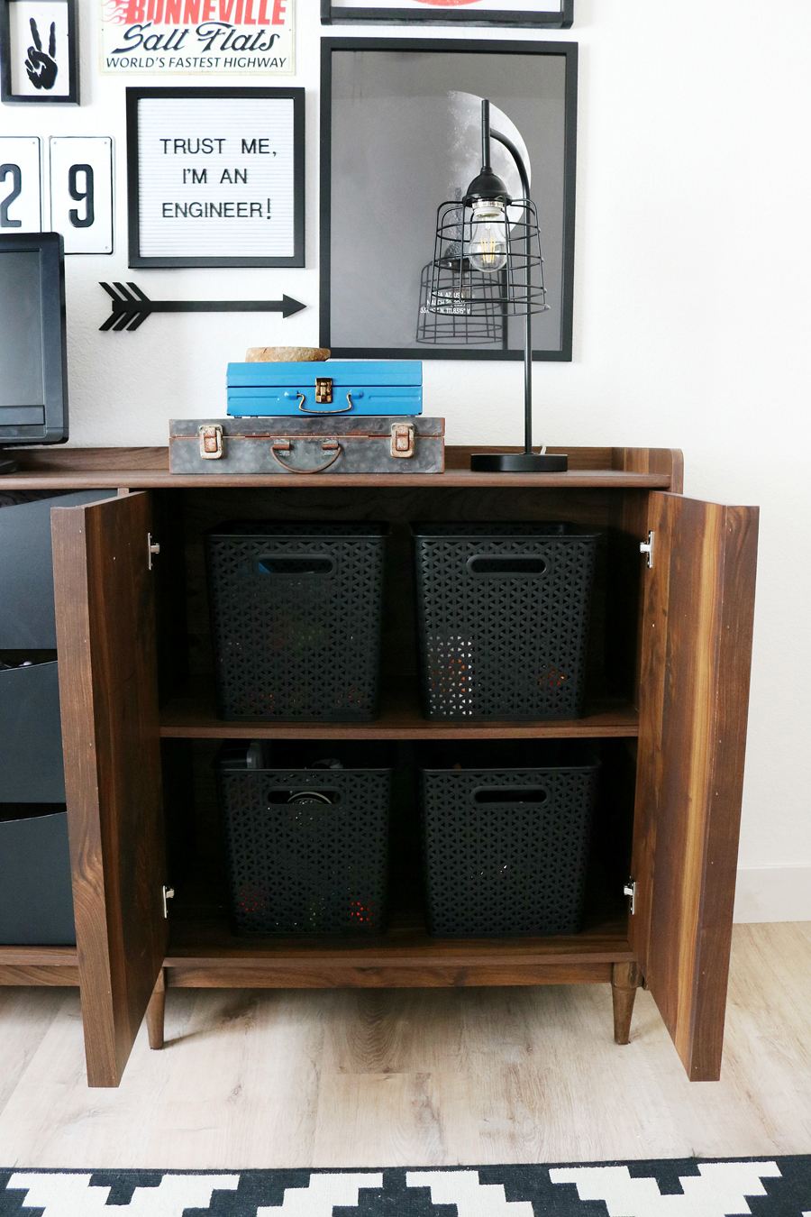 Teen Boy's Room Storage Solutions - Better Homes & Gardens Montclair TV Stand has so much great storage.