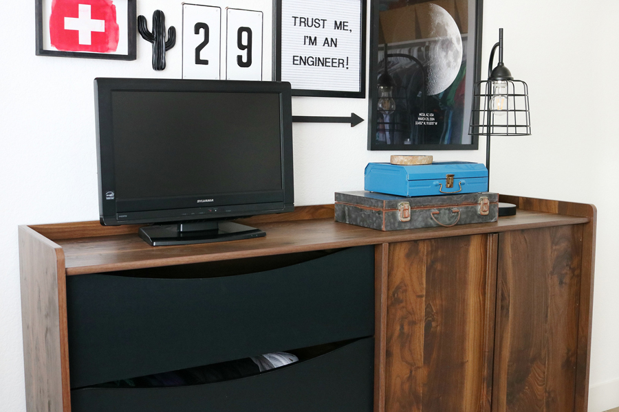 Teen Boy's Room Storage Solutions - Better Homes & Gardens Montclair TV Stand helps is functional and has a great mid-century modern vibe.
