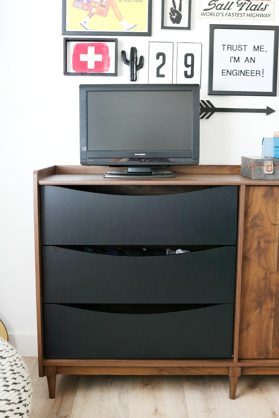 Teen Boy's Room Storage Solutions - Better Homes & Gardens Montclair TV Stand with contrasting black drawers