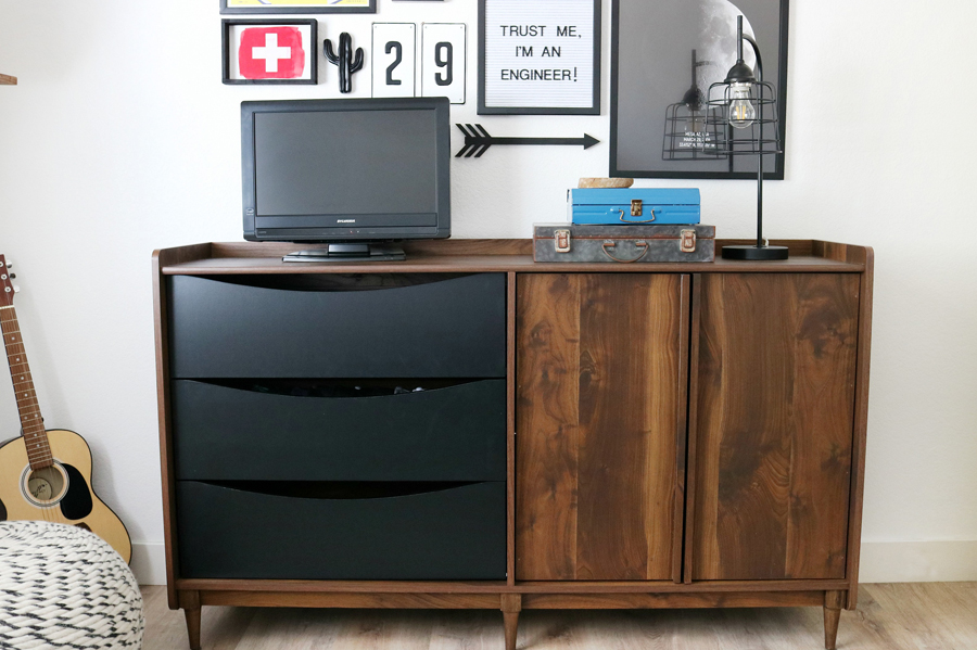 Teen Boy's Room Storage Solutions - This Better Homes & Gardens Montclair TV Stand has a great Mid-Century Modern look and the vintage walnut color is so good.