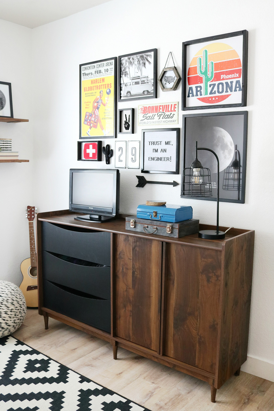 Teen Boy's Room Storage Solutions - Use a credenza with drawers and cabinet doors for function and stylish storage.