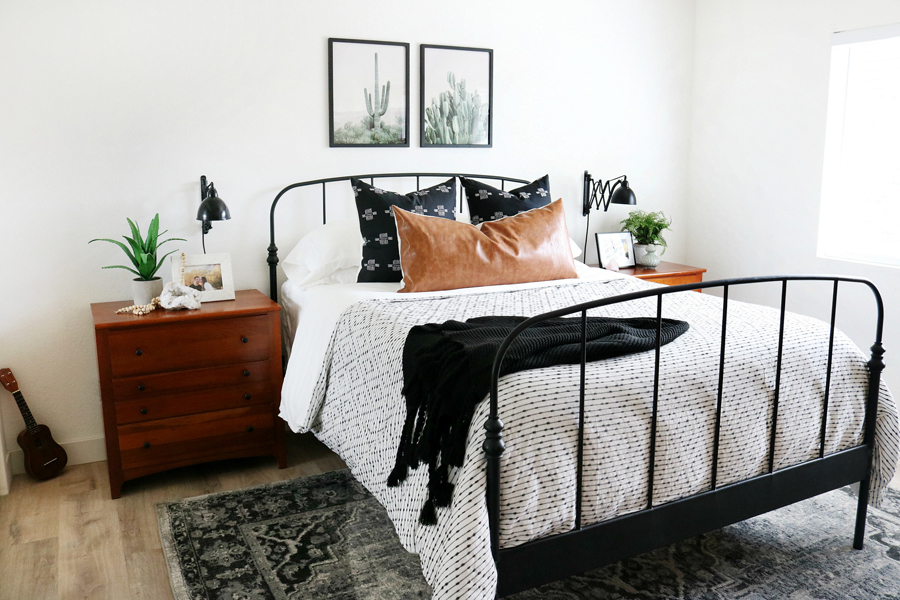 Black & White Boho Inspired Bedroom Decor