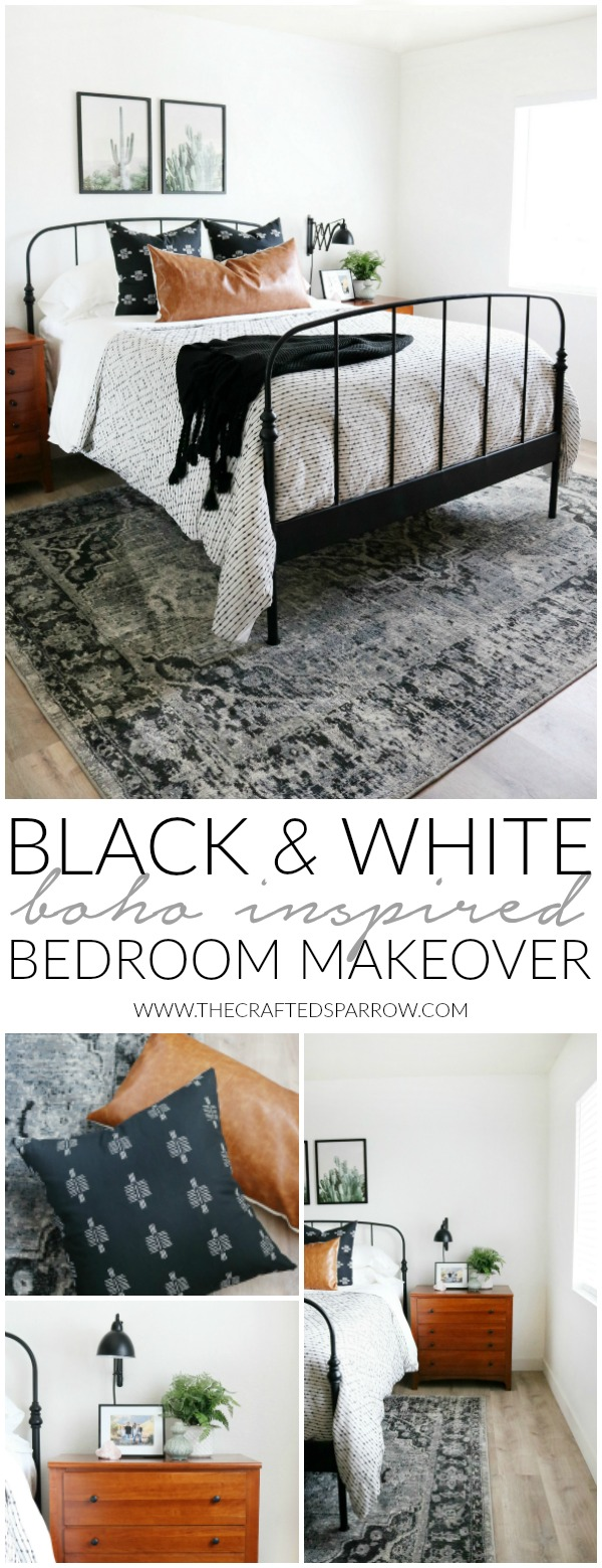 Black & White Boho Inspired Bedroom Makeover