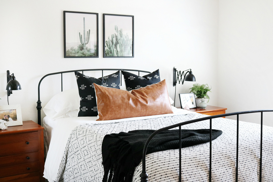 Black & White Boho Inspired Bedroom with Neutral Colors